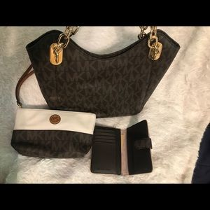 MK Brown signature purse with double gold handles